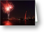 4th July Greeting Cards - St. Louis Fireworks Greeting Card by Scott Rackers