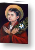 Religious Artwork Painting Greeting Cards - St. Maria Goretti Greeting Card by Sharon Clossick