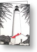 Historic Lighthouse Drawings Greeting Cards - St Marks Lighthouse Greeting Card by Frederic Kohli