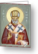 Julia Bridget Hayes Greeting Cards - St Nicholas of Myra Greeting Card by Julia Bridget Hayes
