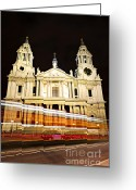 Lit Greeting Cards - St. Pauls Cathedral in London at night Greeting Card by Elena Elisseeva