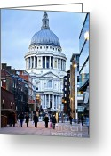 Old England Greeting Cards - St. Pauls Cathedral London at dusk Greeting Card by Elena Elisseeva