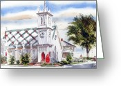 Water Colours Greeting Cards - St Pauls Episcopal Church  Greeting Card by Kip DeVore