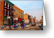 Hockey On The Streets Of Montreal Greeting Cards - St. Viateur Bagel Hockey Game Greeting Card by Carole Spandau