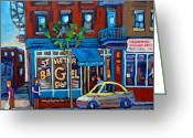 Resto Cafes Greeting Cards - St. Viateur Bagel Shop Greeting Card by Carole Spandau