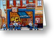 Store Fronts Greeting Cards - St. Viateur Bagel With Hockey Greeting Card by Carole Spandau