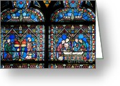 Notre Dame Greeting Cards - Stained glass window of Notre Dame de Paris. France Greeting Card by Bernard Jaubert