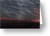 Startrail Greeting Cards - Star Trails Greeting Card by Laurent Laveder