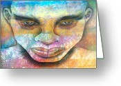 African Warrior Greeting Cards - Stare of a Warrior Greeting Card by Maximo Pizarro