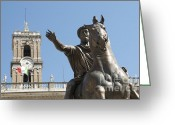 Personage Greeting Cards - Statue of Marcus Aurelius on Capitoline Hill Rome Lazio Italy Greeting Card by Bernard Jaubert