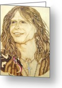 Singer Pyrography Greeting Cards - Steven Tyler Greeting Card by Roger Storey