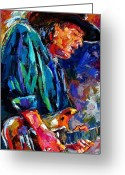 Blues Greeting Cards - Stevie Ray Vaughan Greeting Card by Debra Hurd