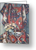 Rug Greeting Cards - Still-life with an old rug Greeting Card by Tigran Ghulyan