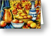 Pitcher Greeting Cards - Still Life with Oranges Greeting Card by Michelle Calkins
