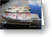 Row Boat Mixed Media Greeting Cards - Stolen Greeting Card by Bill  Thomson