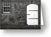Black Widow Greeting Cards - Stone Barn Window Cathedral Door Greeting Card by John Stephens