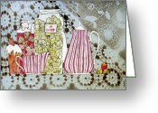 Strawberry Drawings Greeting Cards - Strawberry Greeting Card by Evgeniya Zueva
