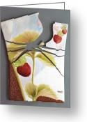 Gold Ceramics Greeting Cards - Strawberry Explosion Greeting Card by Kathleen Pio