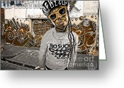 Lil Wayne Greeting Cards - Street Phenomenon Lil Wayne Greeting Card by The DigArtisT