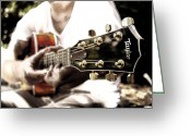 Taylor Guitar Greeting Cards - Strumming His Six String Greeting Card by James Hopkins