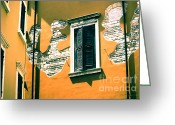 Stucco Walls Greeting Cards - Stucco and Brick Patterns on Buildings in Verona Italy Greeting Card by Gordon Wood