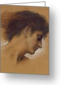 Looking Away Pastels Greeting Cards - Study of a head Greeting Card by Evelyn De Morgan