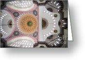 Sultan Greeting Cards - Suleymaniye Mosque Ceiling Greeting Card by Artur Bogacki