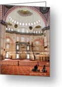 Sultan Greeting Cards - Suleymaniye Mosque Interior Greeting Card by Artur Bogacki