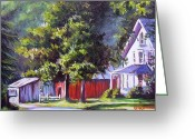 Old Country Roads Painting Greeting Cards - Summer Country Road Greeting Card by Ginger Jamerson