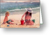 Playing On Beach Greeting Cards - Summer Days Greeting Card by Laura Lee Zanghetti