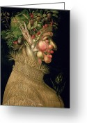 Food And Beverage Painting Greeting Cards - Summer Greeting Card by Giuseppe Arcimboldo