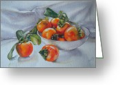 Persimmons Greeting Cards - Summer Harvest  1 Persimmon Diospyros Greeting Card by Sandra Phryce-Jones