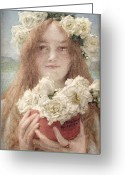 Alma-tadema Greeting Cards - Summer Offering Greeting Card by Sir Lawrence Alma-Tadema