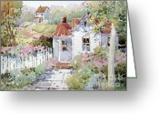 Path Greeting Cards - Summer Time Cottage Greeting Card by Joyce Hicks