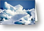 Lit Mixed Media Greeting Cards - Sun drenched ice blocks Greeting Card by Michael P Ray