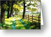 Amish Family Greeting Cards - Sunday Afternoon Greeting Card by Dale Ziegler