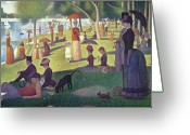 Dogs Painting Greeting Cards - Sunday Afternoon on the Island of La Grande Jatte Greeting Card by Georges Pierre Seurat