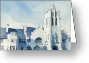 Catholic Church Painting Greeting Cards - Sunday Morning Greeting Card by Donald Maier