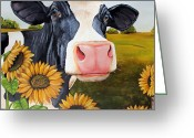 Cow Greeting Cards - Sunflower Sally Greeting Card by Laura Carey