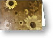 Brown Framed Prints Greeting Cards - Sunflowers Field Greeting Card by France Laliberte