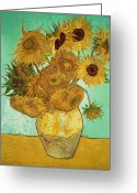 Post-impressionist Greeting Cards - Sunflowers Greeting Card by Vincent Van Gogh