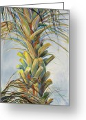 Blues And Greens Greeting Cards - Sunlit Palm Greeting Card by Michele Hollister - for Nancy Asbell