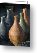 Jugs Greeting Cards - Sunrise and Pottery Greeting Card by Sandra Bronstein
