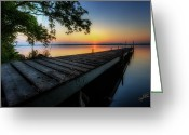 Lakes Greeting Cards - Sunrise over Cayuga Lake Greeting Card by Everet Regal