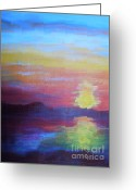 Lam Lam Greeting Cards - Sunrise Seascape Greeting Card by Lam Lam
