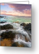 ; Maui Photo Greeting Cards - Sunrise Surge Greeting Card by Mike  Dawson