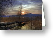 Back Light Greeting Cards - sunset at the Lake Maggiore Greeting Card by Joana Kruse