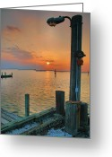 Landscape Framed Print Greeting Cards - Sunset Bay III Greeting Card by Steven Ainsworth