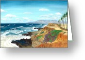 Ocean Landscape Pastels Greeting Cards - Sunset Cliffs Greeting Card by Jackie Novak