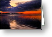 Peach Greeting Cards - Sunset Greeting Card by Gert Lavsen
